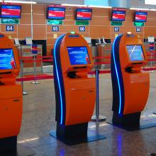 IER 919 Self-Check-in Kiosks for Aeroflot at Sheremetyevo International Airport in Moscow (Russia) Bornes d'enregistrement IER 919 Aeroflot à l'Aéroport International de Sheremetyevo à Moscou (Russie)